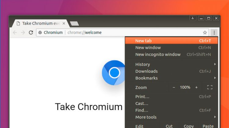The Chromium browser installed on the Ubuntu desktop