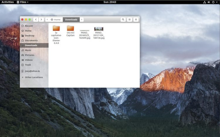 gnome shell with GNOME OS X II theme