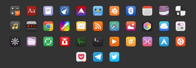 example of the moka icon theme