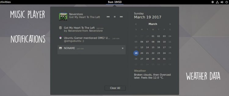 gnome 3.24: notifications area