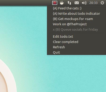 Todo.txt Indicator running on Ubuntu