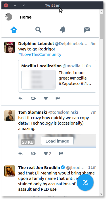 Twitter lite on Ubuntu