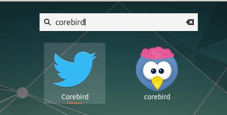 corebird app launcher in gnome shell