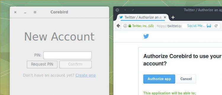 corebird authentication
