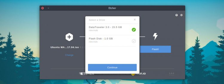 etcher usb selection screen
