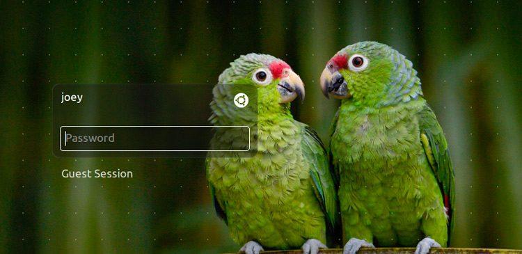 the Ubuntu login screen lightdm