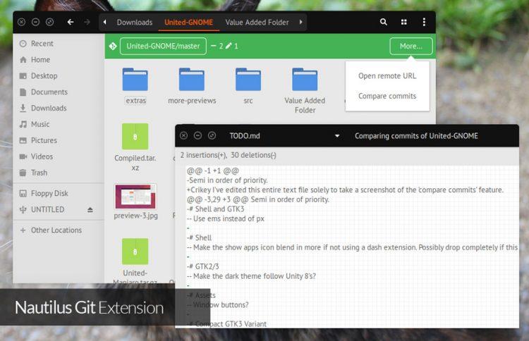 nautilus git integration on ubuntu 17.04