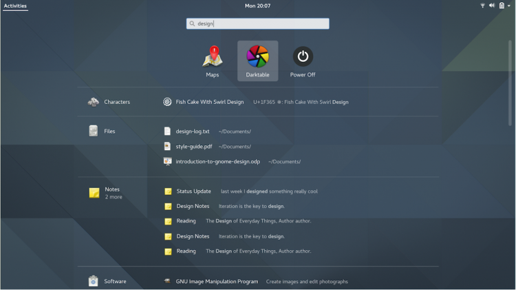 gnome shell search results list mockup