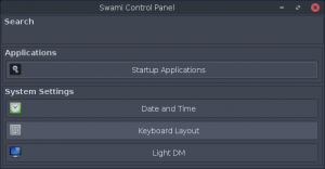 swami control panel in bodhi 4.2.0