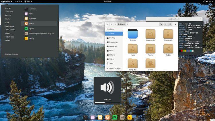 Stock Adwaita theme on Fedora desktop