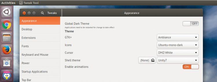 unity 7 theme settings