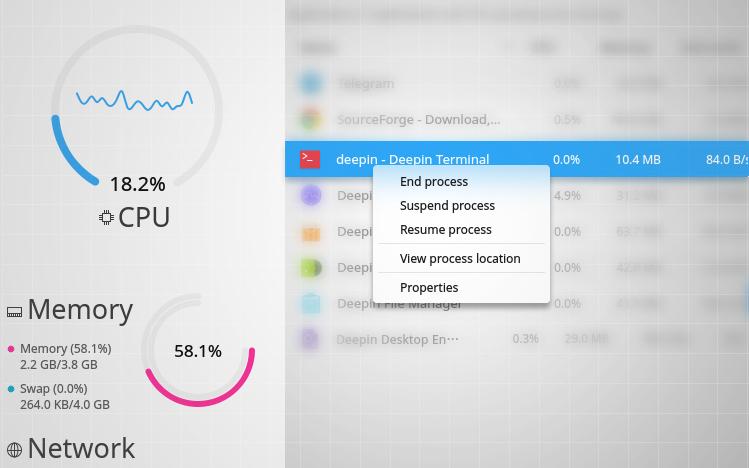 deepin software monitor app close up
