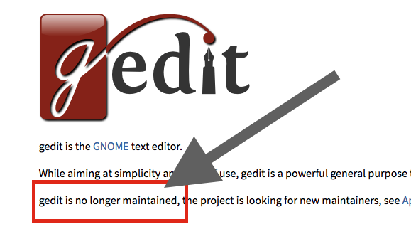 gedit is unmaintained