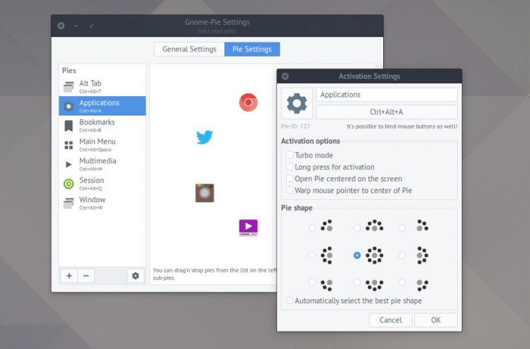 GNOME Pie Settings window