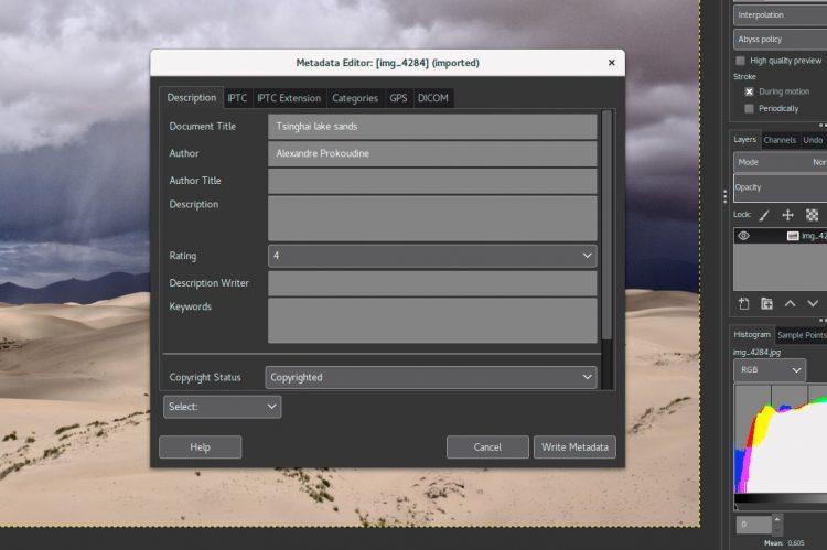 new gimp metadata editor