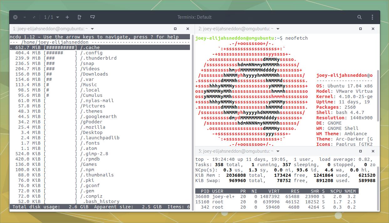 terminix aka tilix on ubuntu