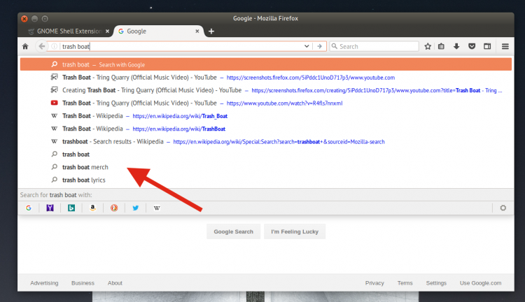 search suggestions in firefox 55