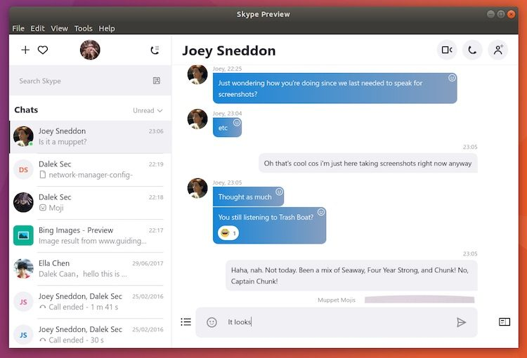 Skype for Linux running on Ubuntu 17.10