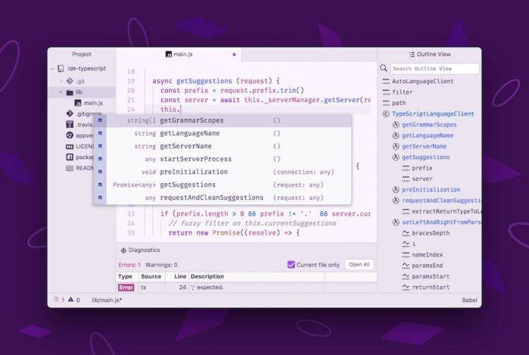 atom IDE screenshot