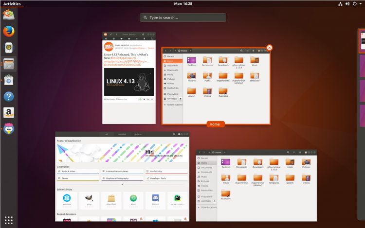 Ubuntu 17.10 GNOME Shell Ambiance Activities Overview