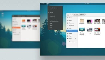 GNOME screenshot with app menu in view