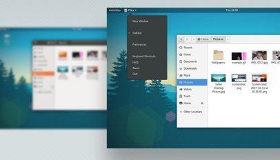 GNOME screenshot with app menu in view
