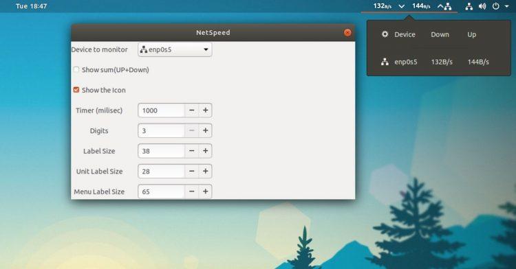 display internet speed in ubuntu