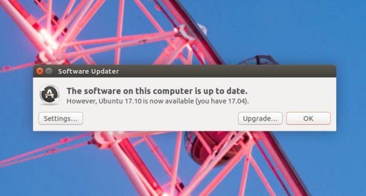 Prompt to upgrade to Ubuntu 17.10