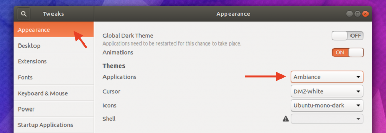 change theme on ubuntu