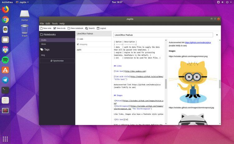 Joplin desktop app on ubuntu