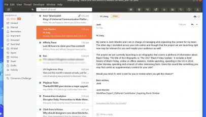 the mailspring email client with ubuntu theme