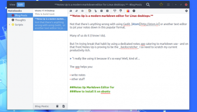 notes up markdown editor for Linux