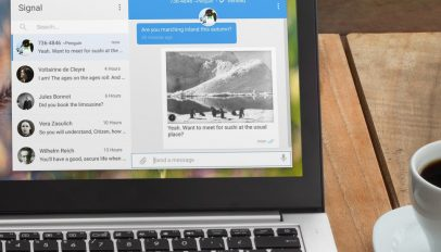 signal desktop app and a coffee