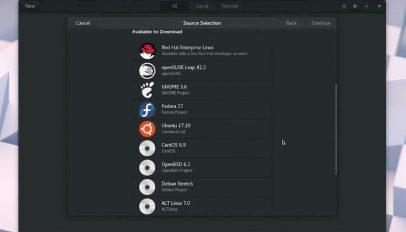 GNOME Boxes Distribution Selection