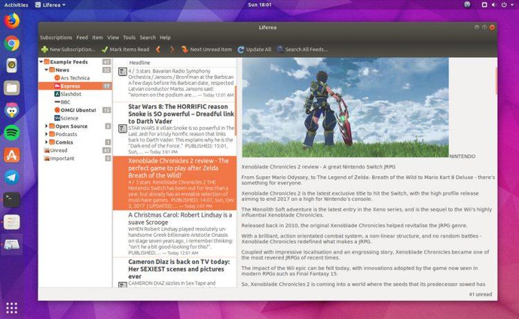 liferea feed reader app on ubuntu