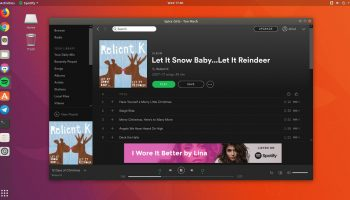 Spotify Linux Snap App running on Ubuntu 17.10