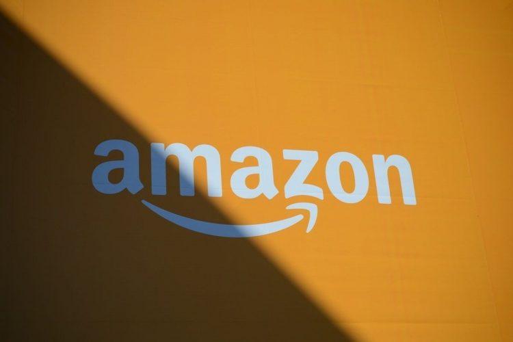 amazon logo on an orange background