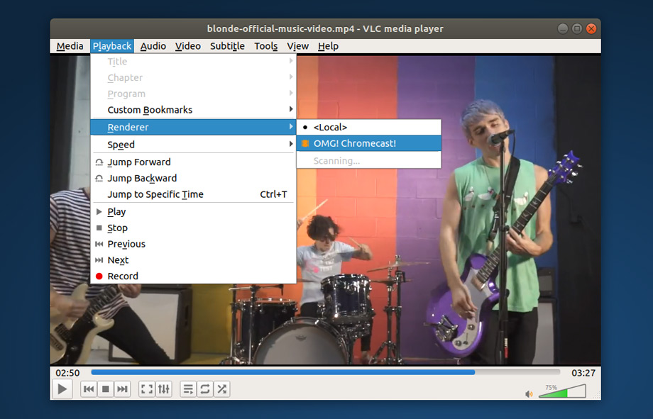 vlc chromecast support in action on ubuntu