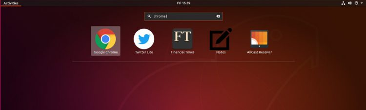 google chrome app launcher in gnome applications overview
