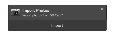 screenshot of the GNOME Photos 3.28 import notification