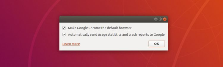 Dialog asking to make chrome the default browser