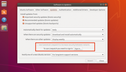 canonical kernel live patch option in ubuntu 18.04