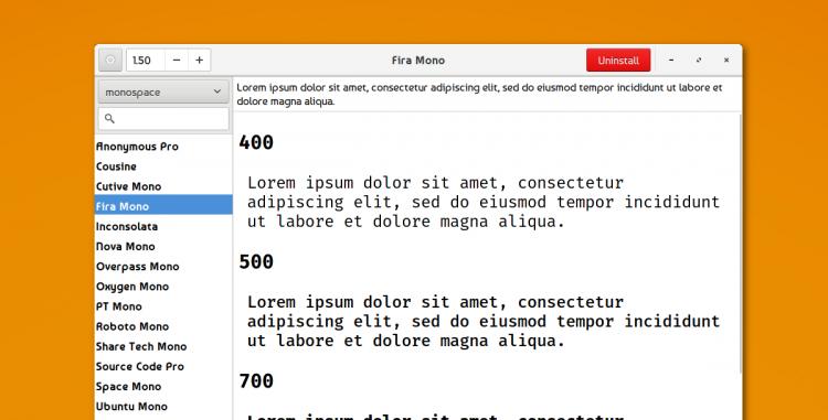 font finder for linux showing an installed font
