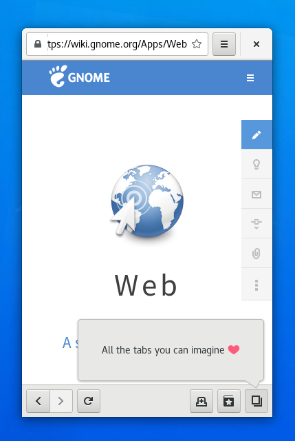 screenshot of gnome web narrow mode