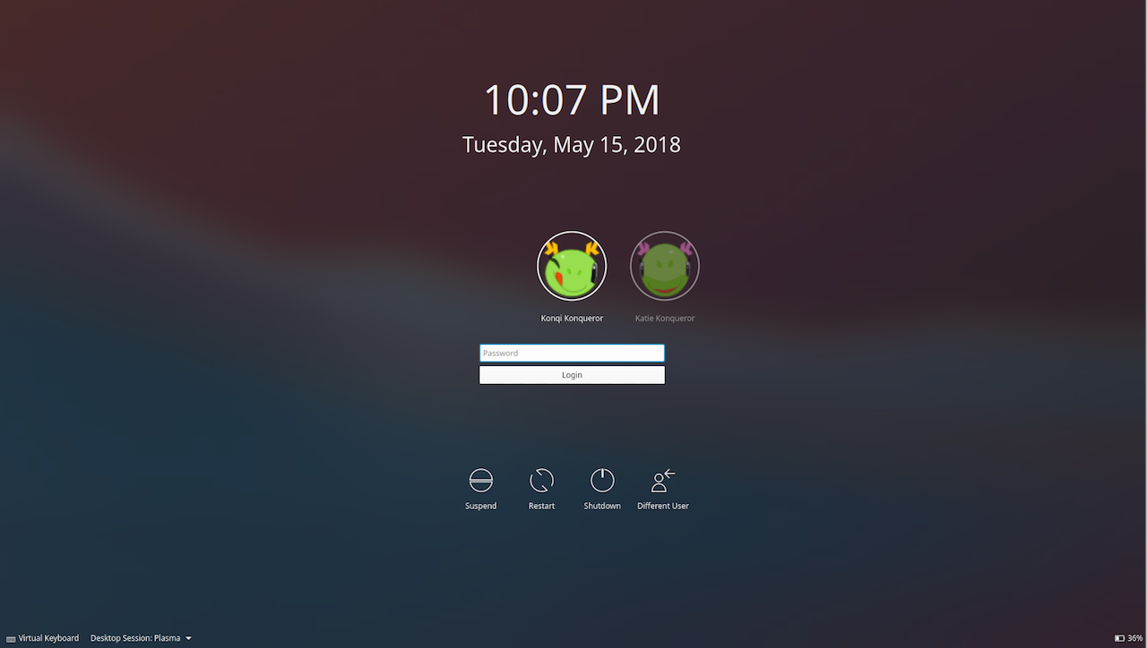 kde plasma 5.13 unlock screen
