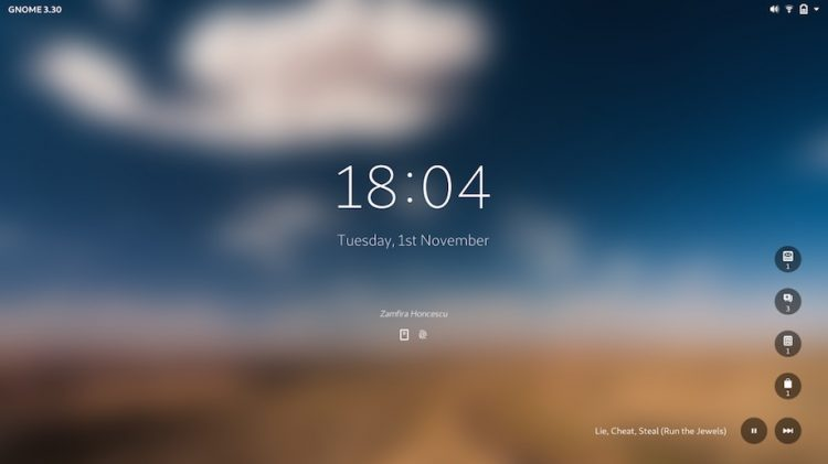 mockup of new gnome lock screen design