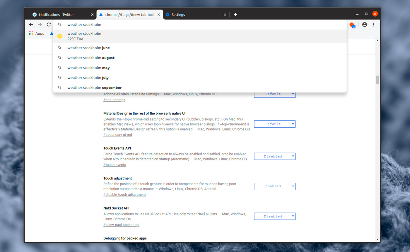 "Google Chrome Dev Build with ""Refresh"" UI Enabled"