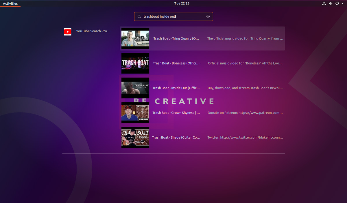 YouTube Search Provider GNOME Shell extension