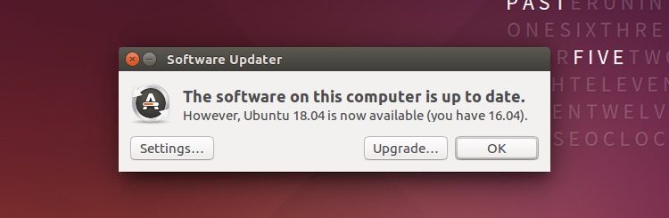 A screenshot of the ubuntu 18.04 upgrade notification