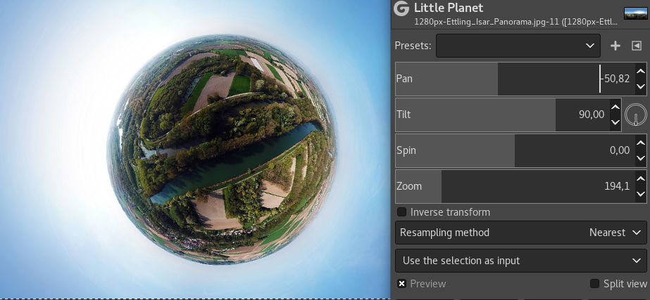 little planets filter in GIMP 2.10.6